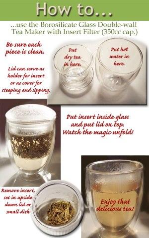 Tea Maker with Insert Filter - Double-wall Borosilicate Glass - 350ml cap.