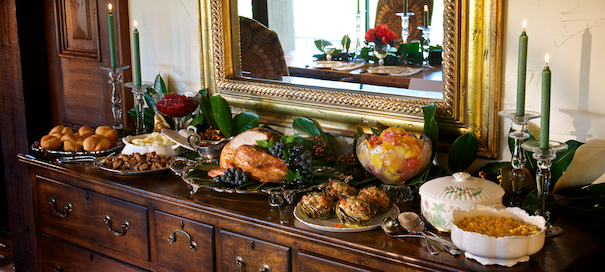 A Thanksgiving Buffet just waiting for that tea!