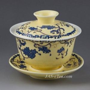 "Gaiwan - Yellow Glaze Porcelain in ""Sowbread Flower"" Design - 180ml cap."